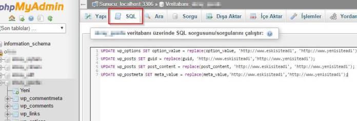 Phpmyadmin Wordpress Domain Değiştirme